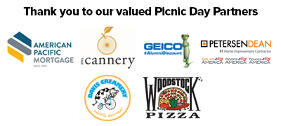 Thank you to our valued Picnic Day Partners: American Pacific Mortgage, the Cannery, GEICO, PetersenDean, Davis Creamery and Woodstock's Pizza