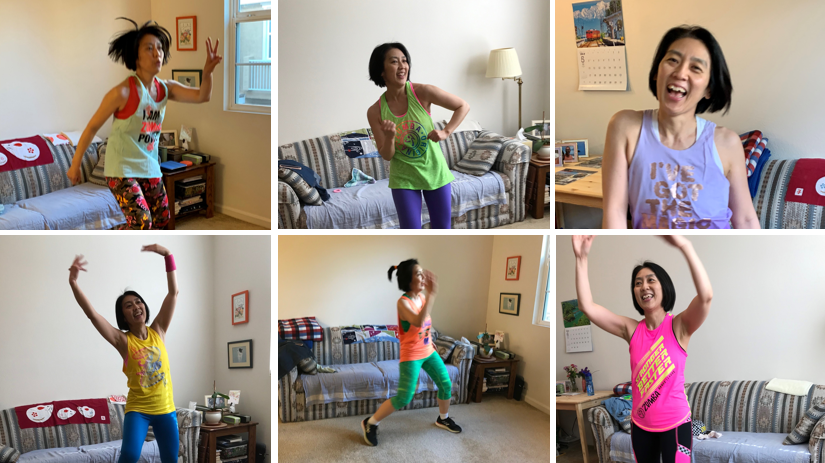 Six pictures of Dr. Noriko Satake doing Zumba