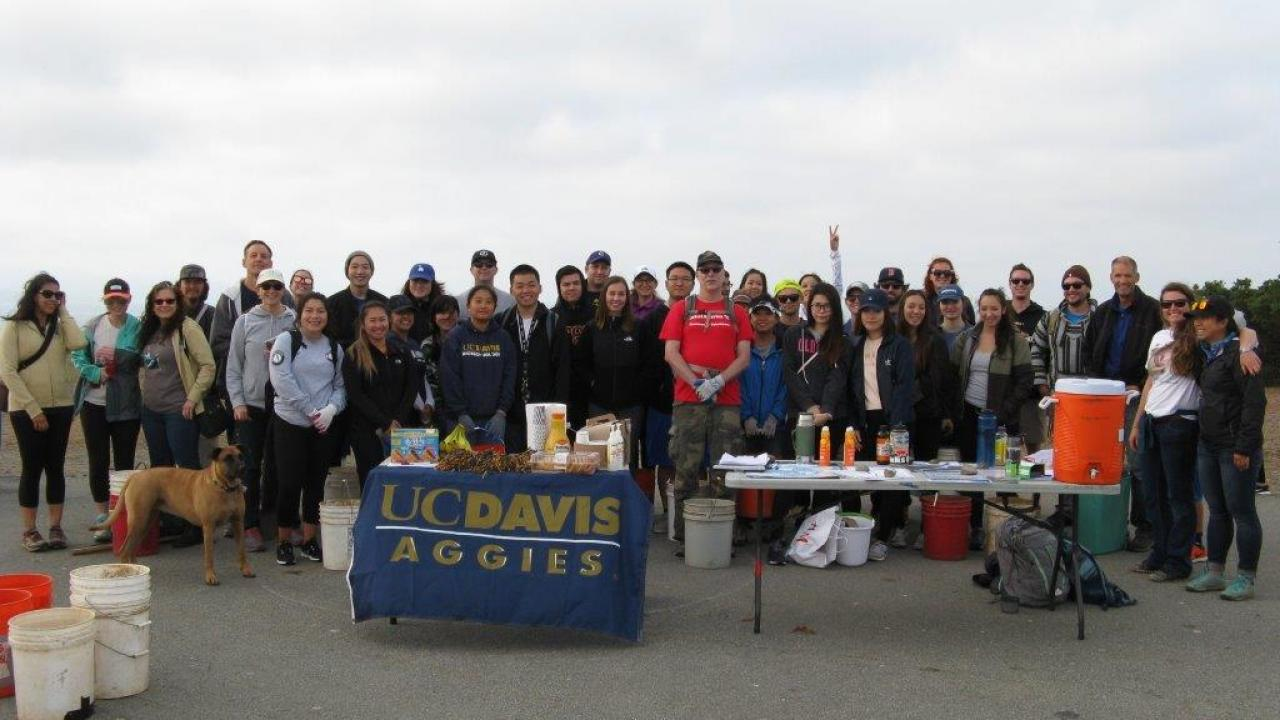 Group of alumni and friends at 2017 Coastal Cleanup