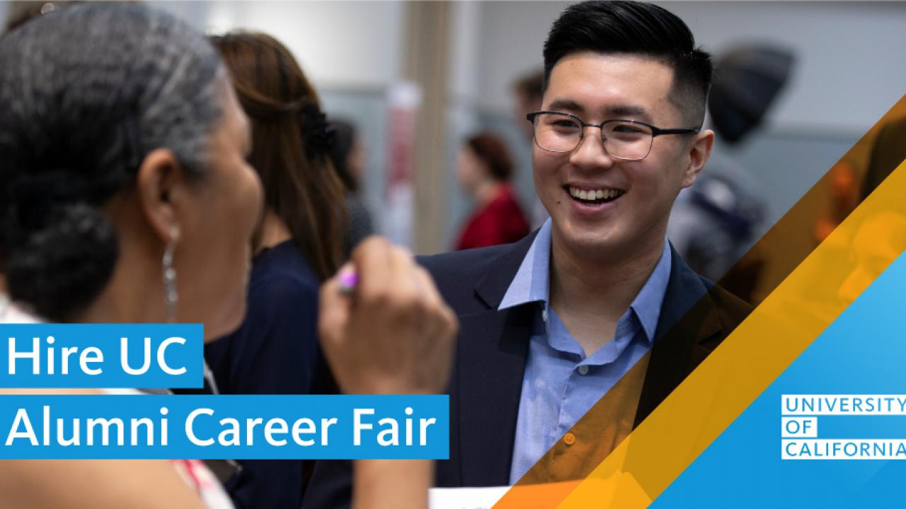 Woman talking to smiling man with text overlay saying Hire UC Alumni Career Fair