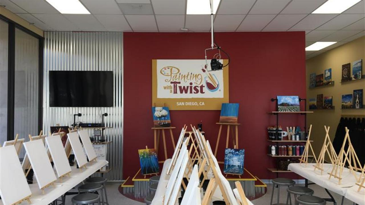 Painting with a Twist workshop with easels and paint canvases set up