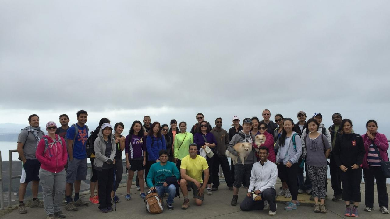 Group of alumni and friends at a hike