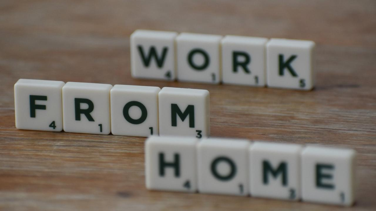 Work from home spelled with scrabble pieces
