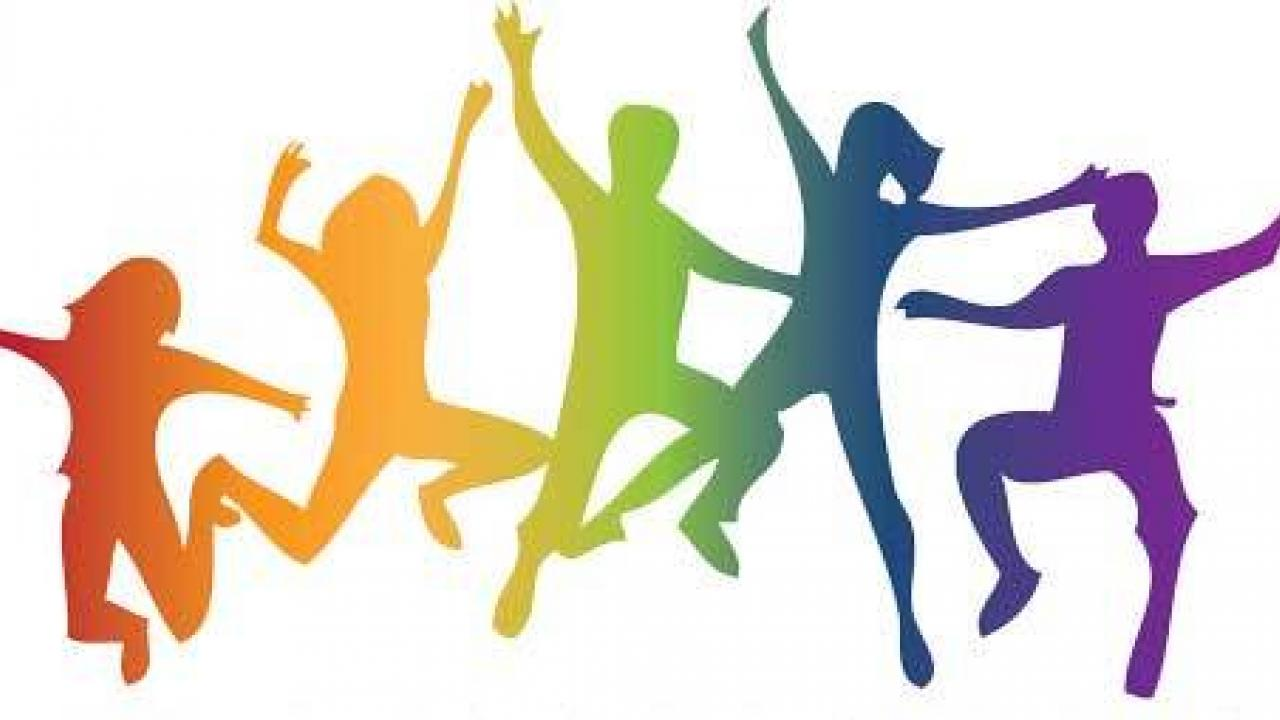 Silhouettes of five people jumping in the air. Each person is a different color of the rainbow.