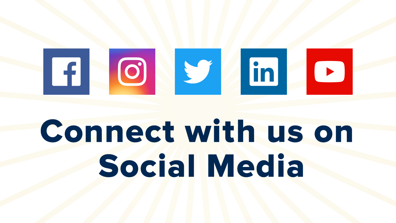 Connect with us on Social Media graphic