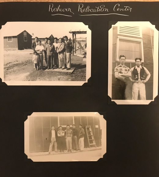 "A photo album page with ""Rohwer Relocation Center"" written at tope. Three black and white photos of people standing outdoors."
