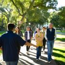 Families on campus tour