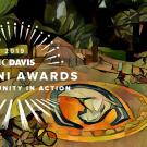 Alumni Awards Logo over illustration of UC Davis Bike Circle