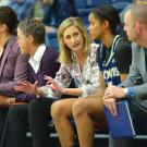 Jennifer Gross coaching at the benches