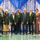 The winners of the 2020 alumni awards (left to right): John C. Harris '65, Davis Campbell '68, Bill and Nancy Roe, Brian H. Sway '74, Chancellor Gary S. May, David Loury '79, Ph.D. '84, CAAA Board of Directors President William Cochran '73, CRED '74, Hope M. Bovenzi '12, Arturo J. Gonzalez '82, CAAA Board of Directors Vice President/President Elect Charles Melton '08