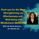 "Yellow text on a blue background reads ""Push-ups for the Mind: Strengthening our Effectiveness and Well-being with Mindfulness Meditation"". Below it in white text it reads ""with UC Davis Alumna Dr. Amishi Jha, Thursday Deceber 3 at 5:30pm PST, Zoom Information Shared Upon Registration"""