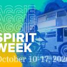 Double decker bus and Aggie Spirit Week logo.