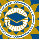 CLAA's logo of a graduation cap inside a sun and star patterns with gold, blue and white layered through the logo.