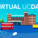 "Text that says ""virtual UC Davis"" on top of a cartoon version of the MU, water tower, and Unitrans bus"