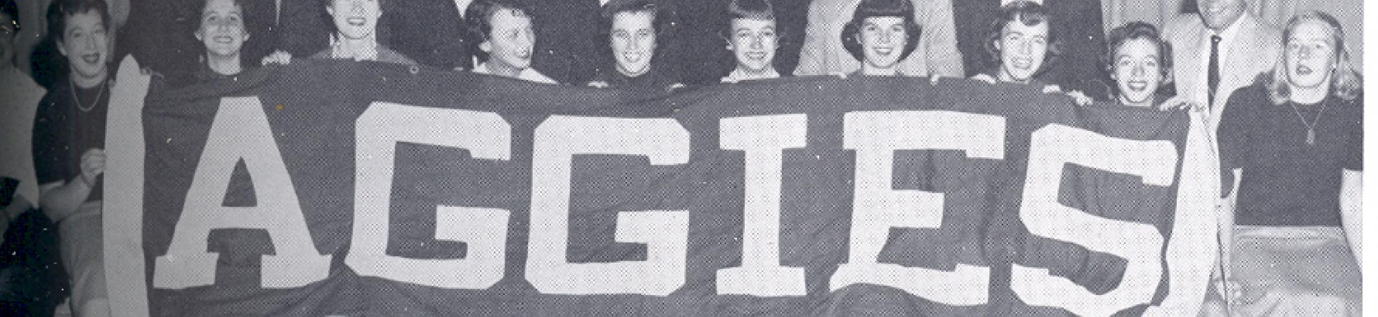 Vintage, historical photo of UC Davis Aggies Banner